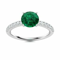 Natural Round 1.00 Carat Emerald And Diamond Womenand039s Ring In 14k White Gold