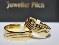 One Pair Wedding Rings Gold 333 Yellow Gold Width 7mm Womenand039s Ring With Diamonds