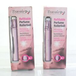 2 Travalo Refillable Perfume Rollerbal Pink Color 0.17 Oz Each