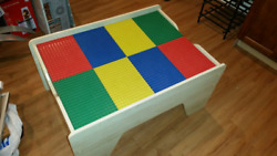 Lego Wood Table-kids Toddler Play Activity Removeable/reversible Plates Andstorage