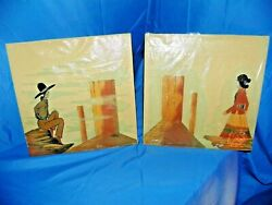 Navajo Native American Indians Sand Paintings Set Of Two- 1 Man And 1 Woman