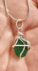 """7.65ct Genuine African Emerald Sterling Silver Wire Wrapped Necklace 22""""chain"""
