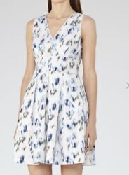 Reiss Printed Fit And Flare Dress Royal Blue/neutral Size 10 Retail 235