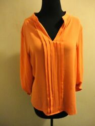 41 Hawthorn Orange Solid Polyester Casual Pleated V Neck Blouse Size S Hh5337