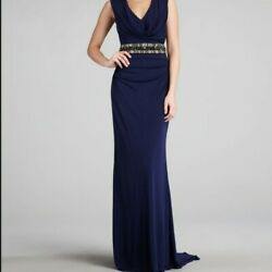 Badgley Mischka Collection Navy Embellished Gown size Small 4