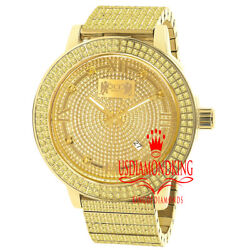 Canary Gold Real Diamond Dial Roman Face Full Stainless Steel Watch 54mm W/date