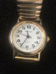 Waltham Ladies Watch White Face Black Easy Reader Number Stretch Band.