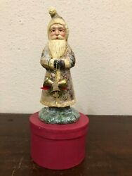 Dee Foust Bethany Lowe Santa W/bells Glittered Box Candy Container 10