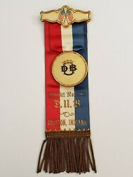 Greater Beneficial Union Gbu Dub District 283 Clinton Indiana Badge Medal Ribbon