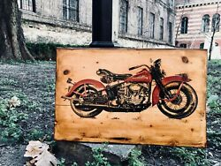 Vintage Harley Davidson Panhead Home Decor Wooden Picture Wall Decor