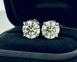 Tiffany&Co Diamond Solitaire Stud Earrings 4.63Tcw in Platinum GIA Certificates