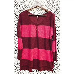 Free People FP Beach Small Purple Pink Stripe Sweater Gold Rush Henley Linen $30.00