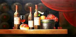 Classic Style Wine Cellar - 5, 24x48 100 Hand Painted Oil Painting On Canvas