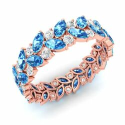 Certified 3.28 Ctw Natural Blue Topaz And Diamond Eternity Ring 14k Rose Gold