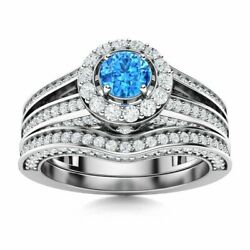 Certified 1.34 Ct Blue Topaz And Diamond Bridal Engagement Ring Set 14k White Gold