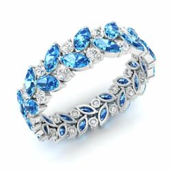 Certified 3.28 Ct Natural Blue Topaz And Diamond Eternity Ring 14k White Gold