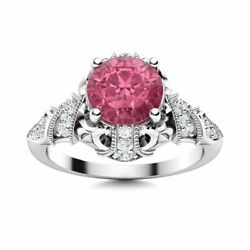 14k White Gold Natural Tourmaline And Si Diamond Engagement Ring Vintage Art Deco