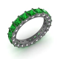 Certified 3.94 Ctw Princess Emerald And Diamond Eternity Band Ring 10k Black Gold