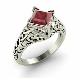 Natural Ruby Solitaire Vintage Look Engagement Ring 14k White Gold- 1.01 Ct