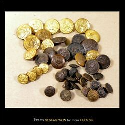 44 Antique Us Wwii Military Brass Uniform Buttons Great Seal