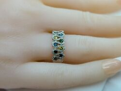 Round Multi Color Diamond Ring, 0.80 Carats, 14kt White Gold, Item110-027