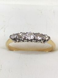 Late C19th Victorian 18ct Gold Platinum And 5 Stone Diamond Ring Size M Or Us=6