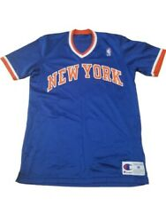 Rare Vtg 90s Throwback New York Knicks Warmup Jersey By Champion - Made In Usa