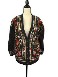 Vintage Panther Women#x27;s Cardigan Knit Sweater Size M VERY PRETTY