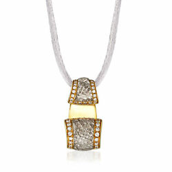 Vintage Quartz And Diamond Necklace In 18kt Gold With Silk Cord 20