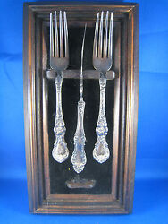 2 Wallace Forks And 1 Rogers Knife In Wood/felt Wall Display Ms