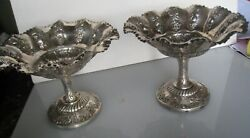 2 Fine1908 London Mappin And Webb Sterling Silver Repousse Footed Serving Bowls