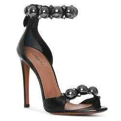 1370 Alaia Bombe 90 Black Studded Leather Sandals Heels Size 38.5