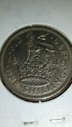1949 Great Britain King George Vi One Shilling.sharp Image In 2x2 Holder