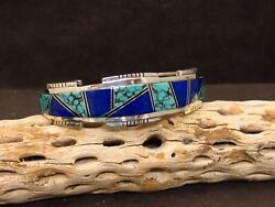 Heavy Sterling Silver Lapis And Turquoise Cuff Bracelet