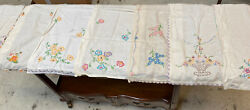 Arts And Crafts Antique Embroidered Linen Mission Table Runners Mixed Lot Of 20