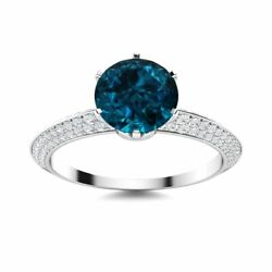 Certified Round 1.67 Ct London Blue Topaz And Diamond 14k White Gold Women's Ring