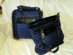 Kenneth Cole Reaction Dark Blue with Polka Dots Tote amp; Under The Seat Bag $69.00