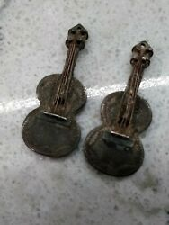Vintage-charms-miniature-antique 1 Pair Of Solid Hand Made Silver String Violins