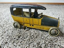Antique Lehmann Tin Toy Taxi With Driver Wind Up Made In Germanyandnbsp