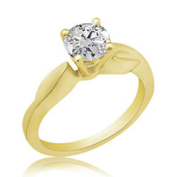 1.54 Ct Simulated Ideal Cut Round Vintage Ring 18k Yellow Gold