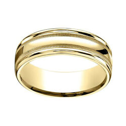 18k Yellow Gold 7mm Comfort-fit High Polished With Milgrain Band Ring Sz-12
