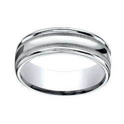 18k White Gold 7mm Comfort-fit High Polished With Milgrain Band Ring Sz-11