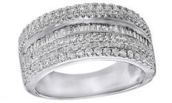0.75 Ct Baguette And Round Cut Diamond Multi Row Band Ring In 10k White Gold