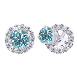 10k Solid White Gold 2.5 Ct Light Blue Moissanite Prong Studs And Earrings Jacket