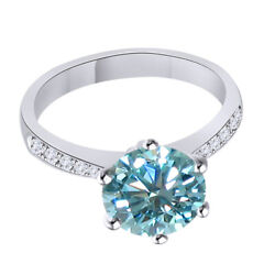 10k Solid White Gold 3.5 Ct Light Blue Moissanite Engagement Bridal Ring Jewelry