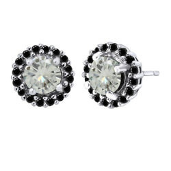 2.5 Ct Round Genuine Moissanite 10k Solid White Gold Halo Stud Earrings