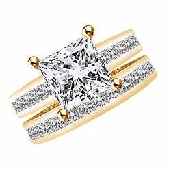 3.00ct Princess Cut Channel Set Engagement Ring And Wedding Band 14k Yellow Gold