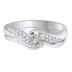 Sterling Silver 5.25 Ct Genuine Moissanite Bridal Set Wedding Ring Jewelry