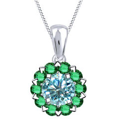 3 Ct Light Blue Moissanite And Emerald Sterling Silver Halo Pendant Necklace
