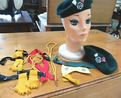 Vintage Lot 1950's Girl Scout 2 Beret 1 Belt 2 Bola Ties 1 Bow Tie 2 Flashes Etc